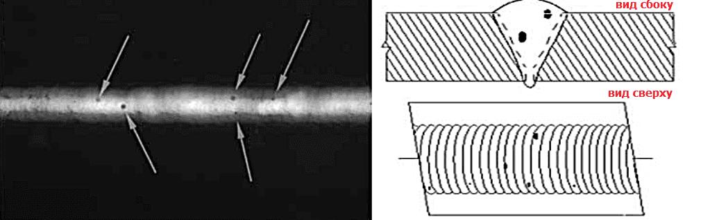 рентген сварного шва пористость